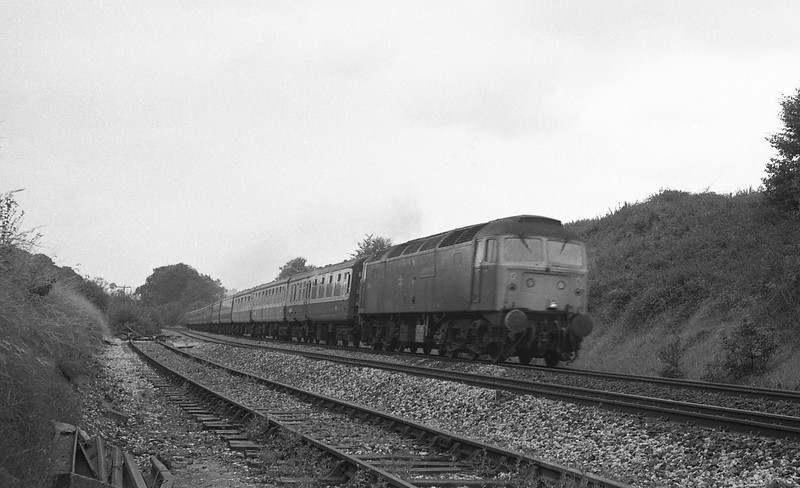 47491, 09.34 Penzance-Newcastle (late), Whiteball, 23-8-86.