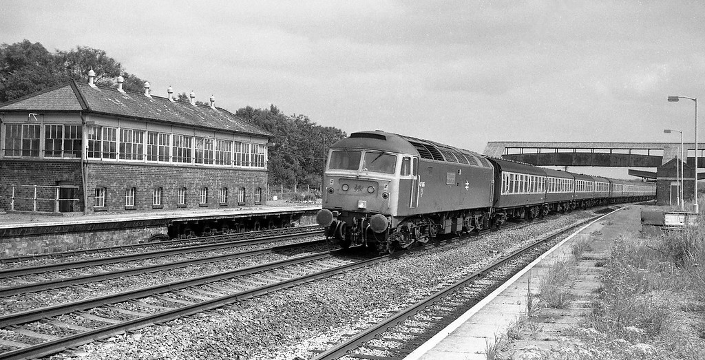 47616, 08.50 Swansea-Penzance, Tiverton Junction Station, Willand, near Tiverton, 19-7-86.