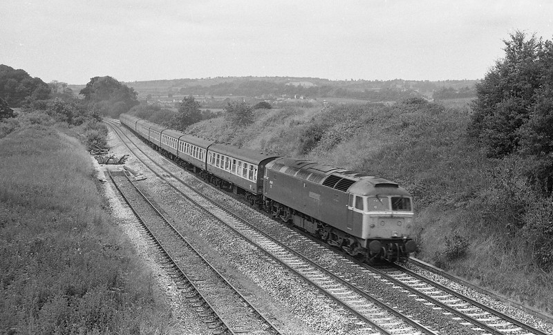 47471, 09.18 Newquay-Newcastle, Whiteball, 19-7-86.