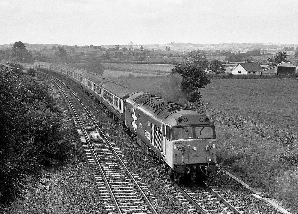 50036, 09.50 Paignton-Glasgow, Willand, near Tiverton, 19-7-86.