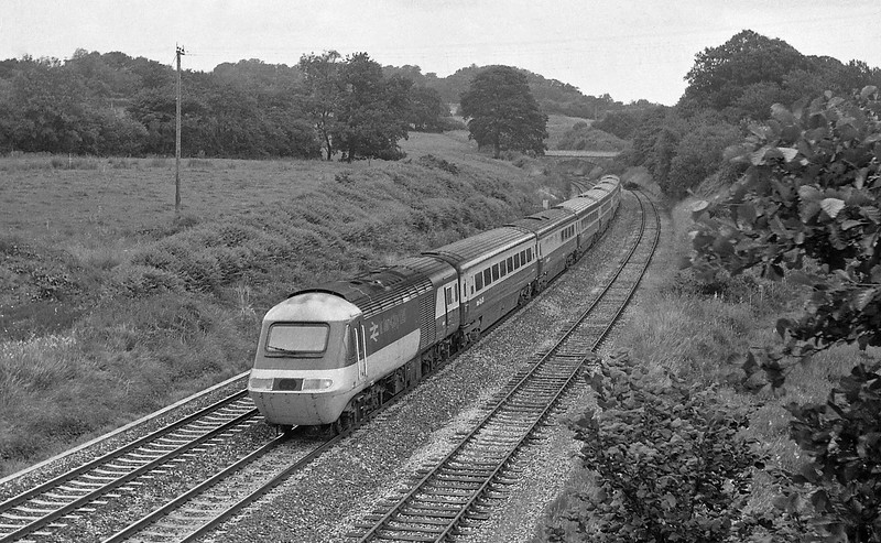 HST, 07.00 Bradford-Paignton, Whiteball, 19-7-86.