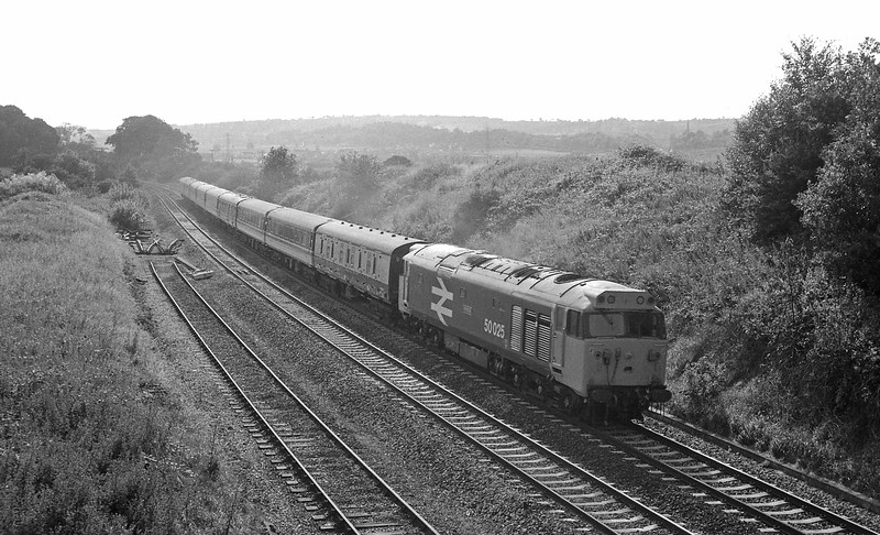 50025, 16.10 Paignton-London Paddington, Whiteball, 26-7-86.