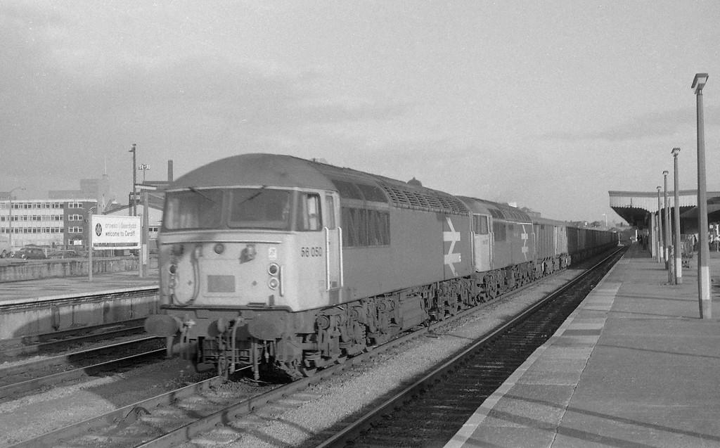 56050/56037, Llanwern Steelworks-Port Talbot, Cardiff Central, 30-10-86.