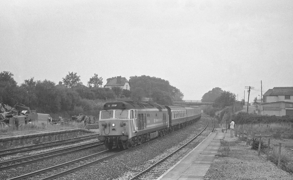 50019, up pass, closed Tiverton Junction Station, Willand, near Tiverton, 31-8-87.