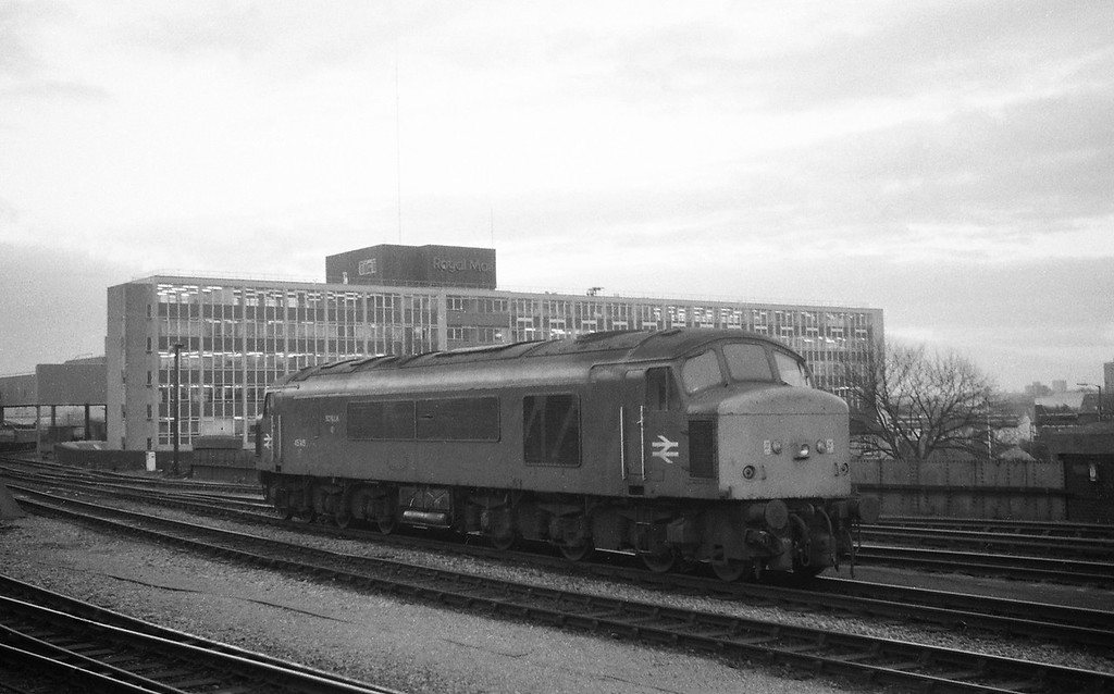 45145, down light from Bristol TMD, Bristol Temple Meads, 1-12-87.