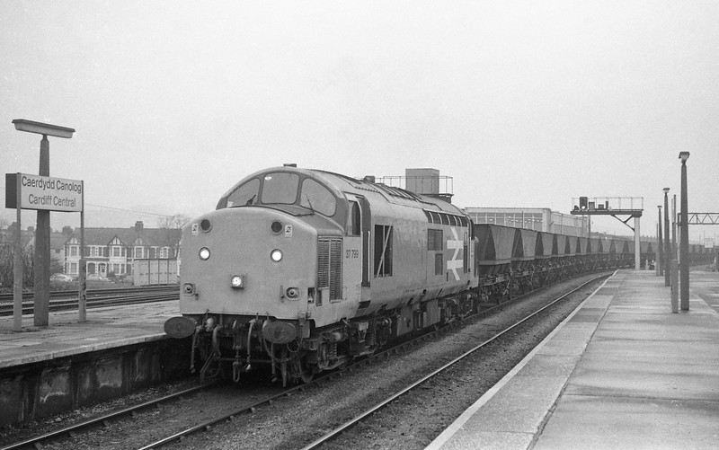 37797, northbound coal empties, Cardiff Canton, 3-2-87.