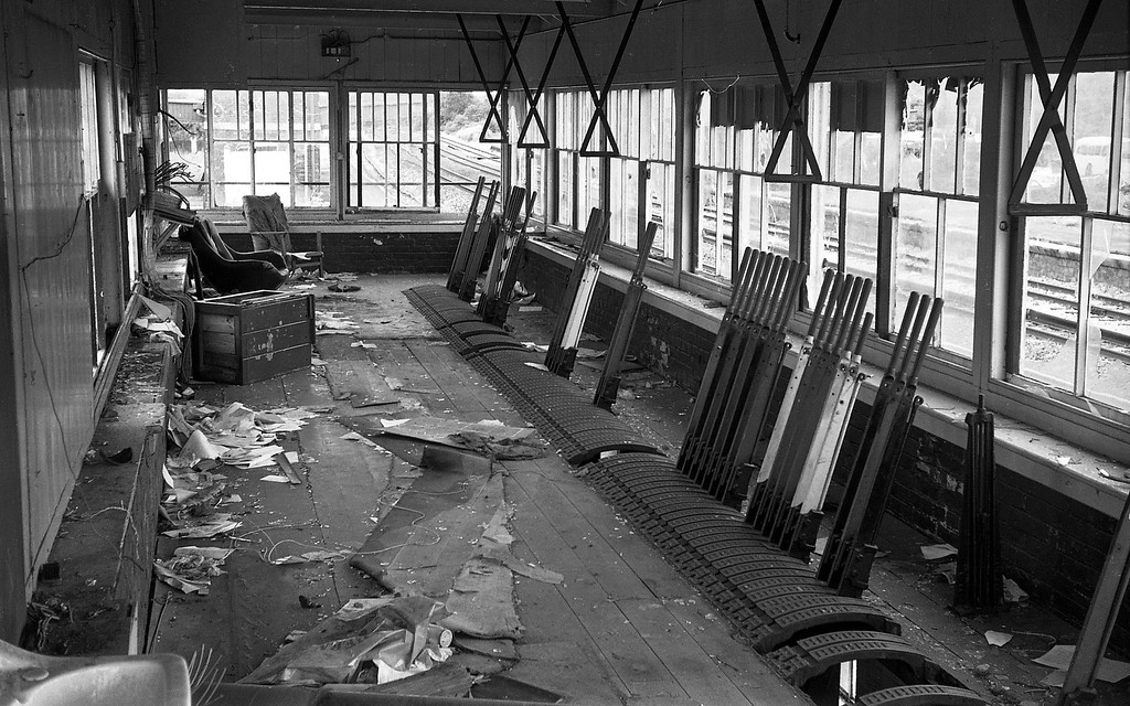 The interior of the stripped and vandalised disused signalbox at the former Tiverton Junction Station at Willand, near Tiverton, 18-7-87, looking north towards the replacement Tiverton Parkway Station.