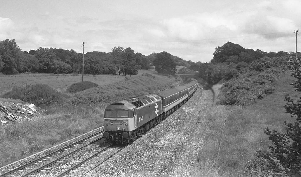 47449, 11.10 London Paddington-Newquay, Whiteball, 11-7-87.