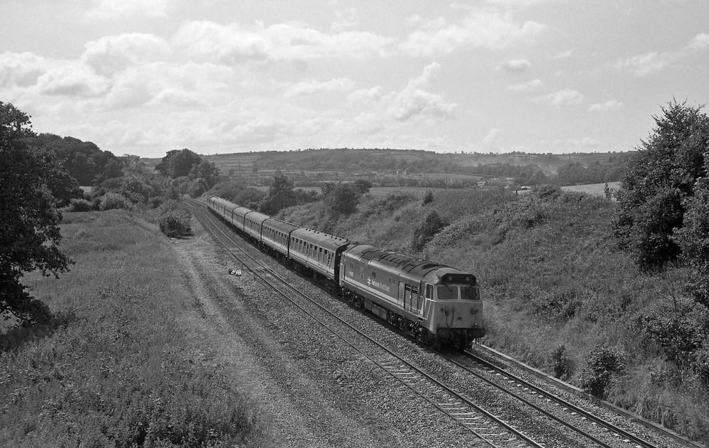 50037, 14.20 Paignton-Cardiff Central, Whiteball, 11-7-87.