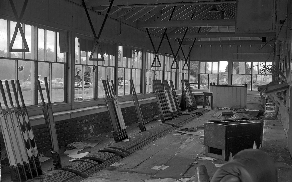The interior of the stripped and vandalised disused signalbox at the former Tiverton Junction Station at Willand, near Tiverton, 18-7-87, looking south.