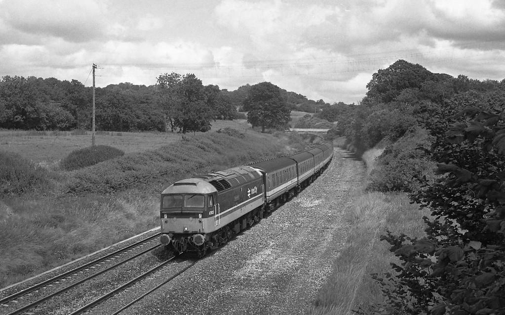 47620, 12.10 London Paddington-Penzance (late), Whiteball, 11-7-87.