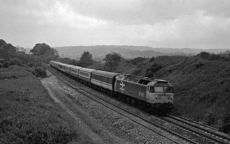 47482, 10.05 Newquay-Manchester Piccadilly, Whiteball, 6-6-87.