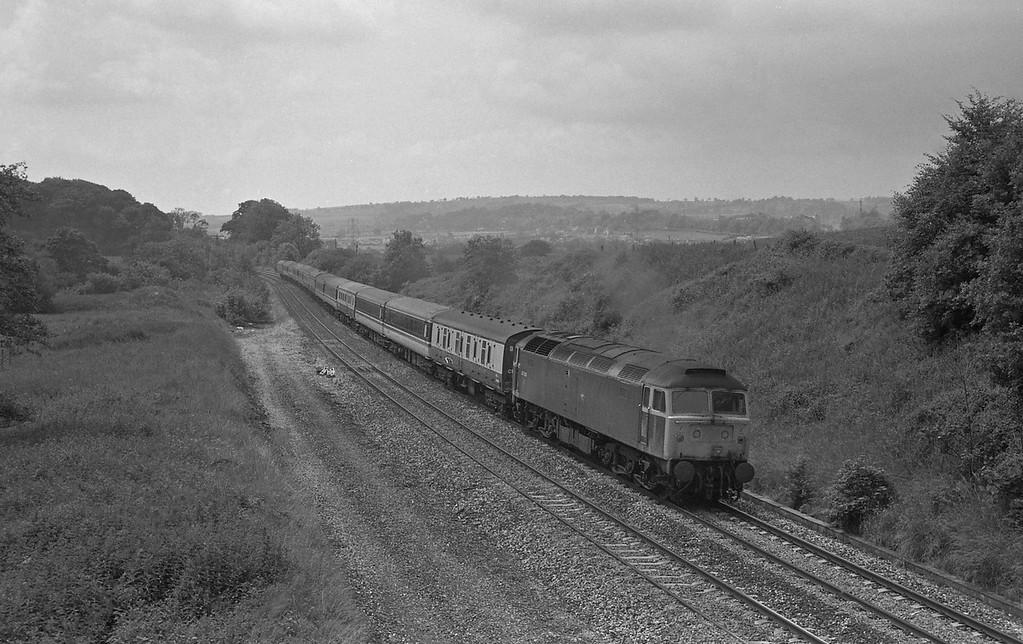 47436, 10.27 Penzance-Glasgow, Whiteball, 19-6-87.