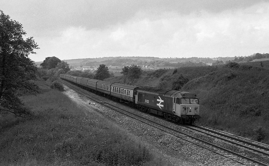 50022, 09.25 Newquay-Newcastle, Whiteball, 20-6-87.