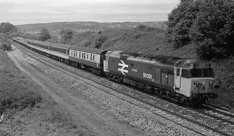 50001, 08.18 Penzance-Aberdeen, Whiteball, 30-5-87.