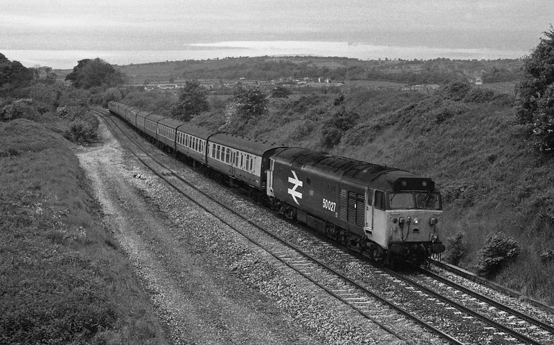 50027, 09.25 Newquay-Newcastle, Whiteball, 30-5-87.