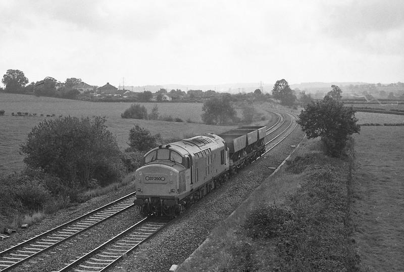 37250, up coal empties, Willand, near Tiverton, 5-10-87.