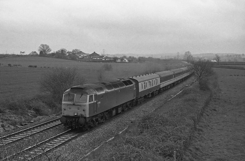 47476, Penzance-Glasgow, Cornish Scot, Willand, near Tiverton, 19-4-88.