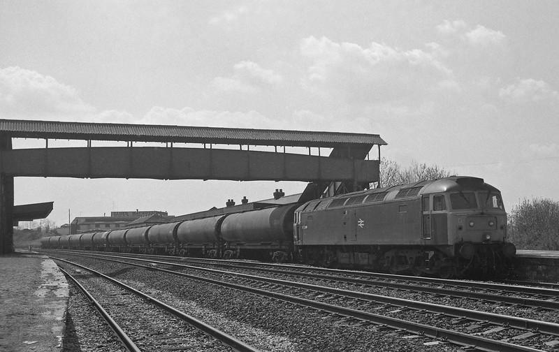 47369, Heathfield-Waterston, looped at disused Tiverton Junction Station, Willand, near Tiverton, 26-4-88.