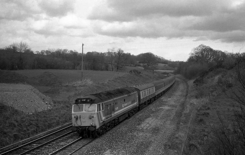 50025, Glasgow-Penzance, Cornish Scot, Whiteball, 29-2-88.