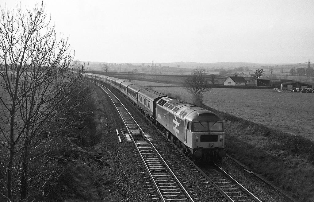 47634, Penzance-Glasgow, Cornish Scot, Willand, near Tiverton, 13-1-88.