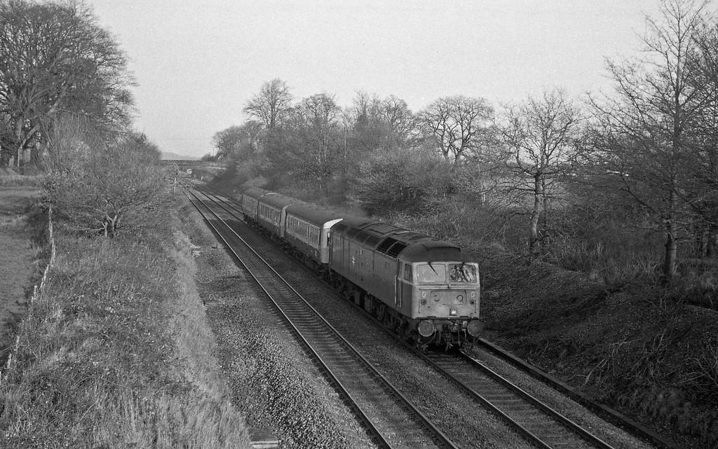 47615, down DMU stock, Willand, near Tiverton, 13-1-88.