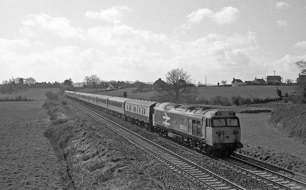 50004, Penzance-Glasgow, Cornish Scot, Rewe, near Exeter, 15-3-88.