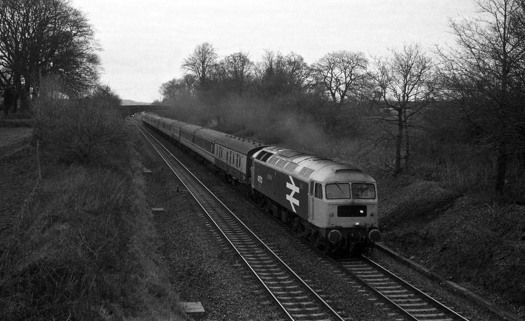 47572, Glasgow-Penzance, Cornish Scot, Willand, near Tiverton, 8-3-88.