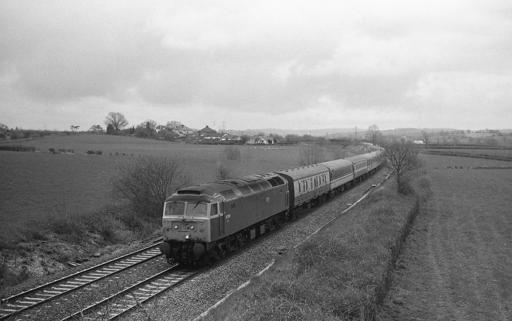 47558, Penzance-Glasgow, Cornish Scot, Willand, near Tiverton, 29-3-88.