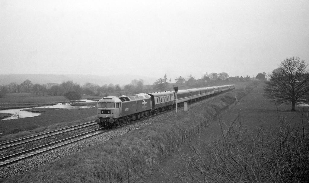 47572, Penzance-Glasgow, Cornish Scot, Rewe, near Exeter, 15-3-88, heavy rain