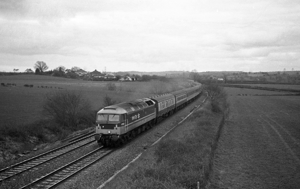 47606, Penzance-Glasgow, Cornish Scot, Willand, near Tiverton, 8-3-88.