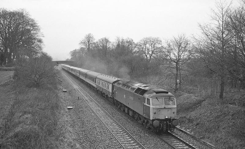 47491, Glasgow-Penzance, Cornish Scot, Willand, near Tiverton, 22-3-88.