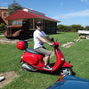 Travis McInnes on James' Vespa