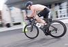 Michael Eustice, Red Hill, speeds to the transition area to start the running phase of the Upper Dublin Triathlon Sunday, May 17, 2015. Photo by Bob Raines