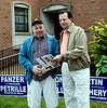 John Hickey running for Constable with Steven Pizzollo looked over the sample ballot for the days primary election. Photo by Debby High