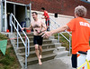 Tim Duffy, Fort Washington heads for the bike transition area during the Upper Dublin Triathlon Sunday, May 17, 2015. Photo by Bob Raines