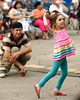 Skyler dragged her step-dad, Frank Brexa, left, along with her to the front of the crowd  so she could dance at the Ambler Arts and Music Festival June 13, 2015.   Photo by  Bob Raines