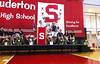 The Souderton Area High School SeaPerch Robotics Team, Sea Perch Robotics, were recognized at an assembly Monday June 8, 2015, for their National Championship win in a competition held at the University of Massachusetts, Dartmouth.   The team was first in a field of 138 teams.   Souderton's team was awarded the Overall Award for High School Division and the 2015 SeaPerch National Championship because of its first place finish in the high school finesse challenge, second place in the high school poster presentation, and third place in the high school obstacle course.     At center is faculty advisor and physics teacher Dennis Robinson with team member Randy HIltson,  holding the robot for audience to see.   Seated, from left are members Connor Gerhart, Lucas Peterson, Matthias Leone, and Alexandra Tomasevich, and from right, Matthew Gargano, Angelica Savoca, and Johathan Adams.   Standing at far right is principal Sam Varano.  Photo by Geoff Patton