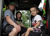 Matt Powers, left, sits in a Horsham firetruck with his children, Kiley and Matt, Jr., at the fire station open house on Horsham Day June 6, 2015.<br /> Bob Raines--Montgomery Media