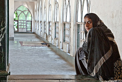 Young woman in Mosque in Srinigar