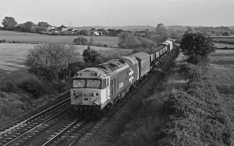 50008, up freight, Willand, near Tiverton.