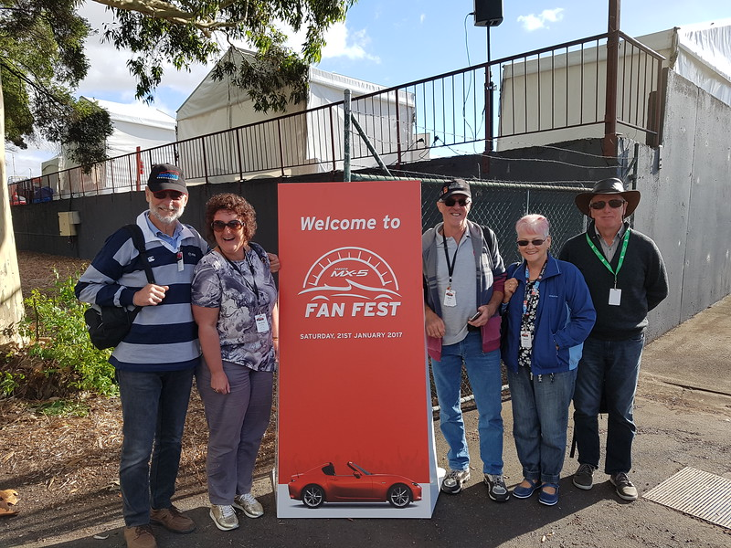 Don Nicoll, Michelle Waldock, Rob and Dianne Tanner and Duncan at Fan Fest in Melbourne