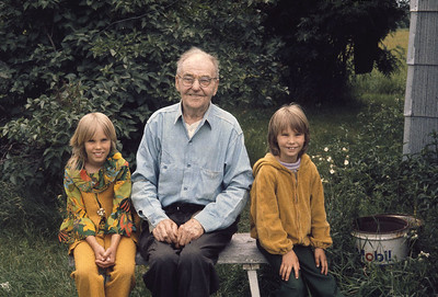 1972 July 1:  Cherie and Krissy with Great Grandpa Axel