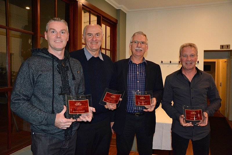 A four-way tie for top honours: Joint 2014-15 Motor Sport Champions Russell Garner (left), Robert Downes, Alan Conrad and Ray Monik