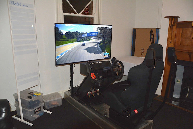 The simulator, featuring the Laguna Seca track in California