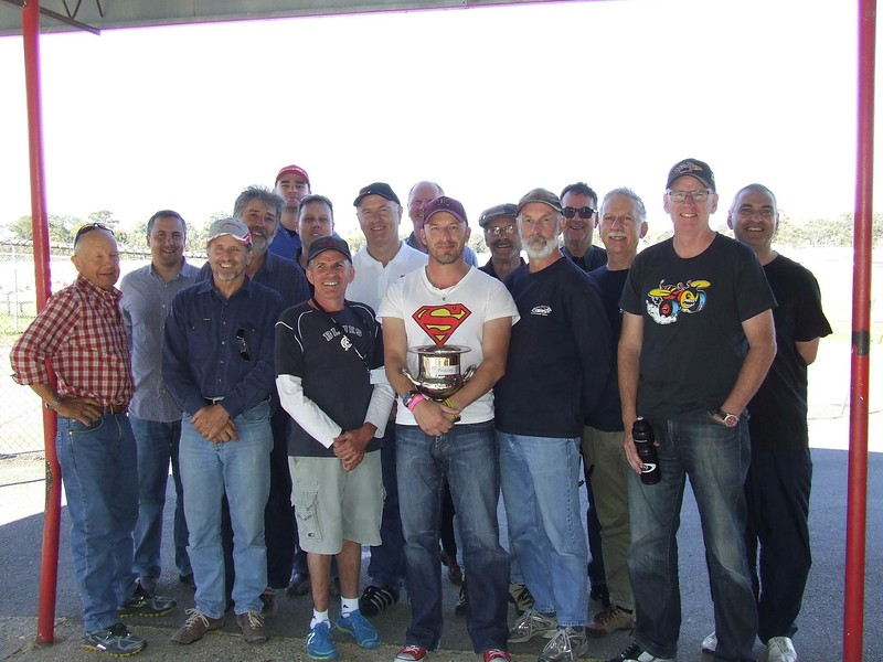 The triumphant Vic-Tas Motor Sport Team. Club Captain - Motor Sport, Randy Stagno Navarra (centre), holds the Interstate Challenge Cup