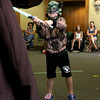 Leo Poldoian, 5, of Leominster dressed up as Yoda when he visited Leominster Public Library on Friday morning to see Jedi Jim's, aka Jim Manning, show based on the Movie franchise Star Wars. During the show he got to battle him. SENTINEL & ENTERPRISE/JOHN LOVE