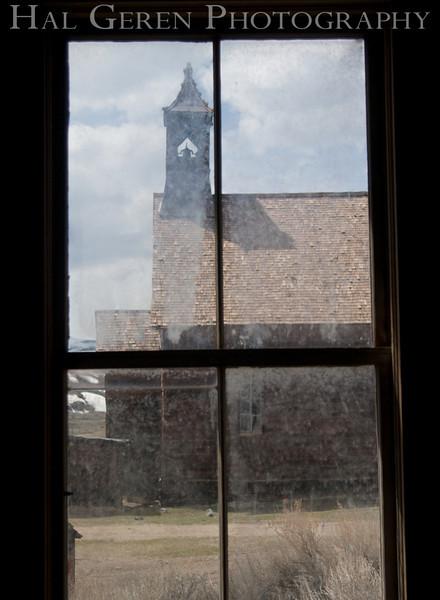 Church through a Window<br /> Bodie, California<br /> 1005T-C1j<br /> Photo by Joann Geren