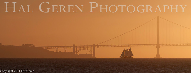 Sailing Ship and the Golden Gate<br /> San Francisco, California<br /> 1109SF-SSITGG1