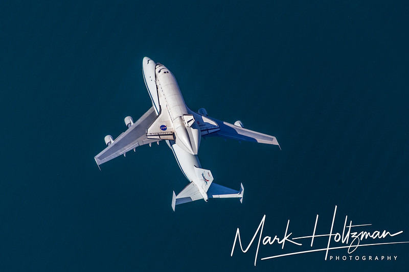 Space Shuttle Endeavour over the ocean in Long Beach, CA.